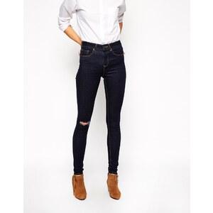 ASOS TALL - Ridley - Superenge Jeans mit hohem Bund und Rissen am Knie - Blau