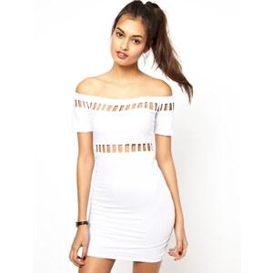 Motel - Dame - Schulterfreies, figurbetontes Kleid mit Zierausschnitten - Weiß