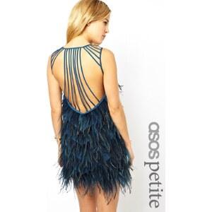 ASOS PETITE – Exklusives, hochwertiges Trägerkleid mit Federn