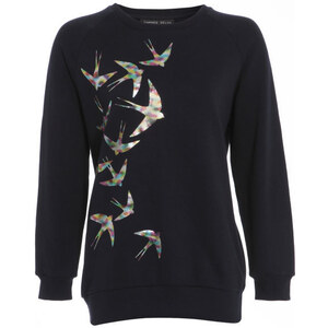 Damned Delux Women's Swallow Print Sweatshirt - Blue