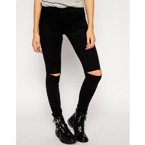 Noisy May - Devil - Enge Jeans mit zerschlissenem Knie - Schwarz