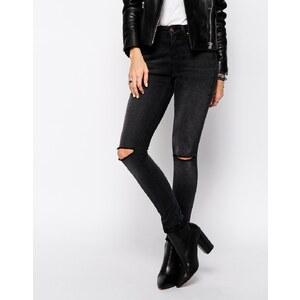 Northmore Denim - Skinny-Jeans mit mittelhohem Bund und zerrissenen Knien - Schwarz