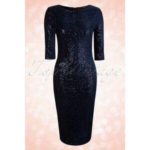 Vintage Chic 50s Twinkle Sequin Pencil Dress in Navy