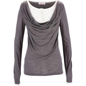 John Baner JEANSWEAR Shirt in Doppel-Optik langarm in grau für Damen von bonprix