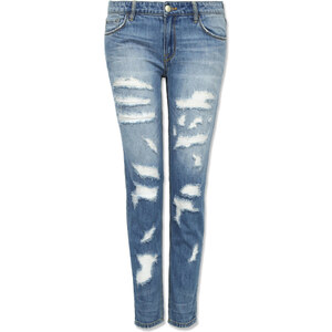 Tally Weijl Blaue Girlfriend-Jeans mit Destroyed-Elementen