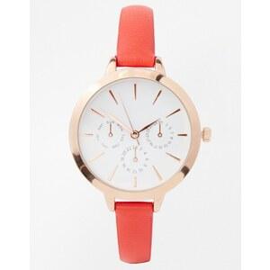 ASOS - Uhr mit großem Zifferblatt und schmalem Armband - Rot