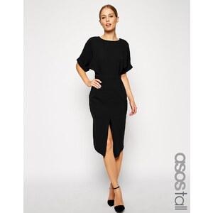 ASOS TALL - Wiggle - Kleid mit Wickeleffekt hinten und Schlitz vorne - Schwarz