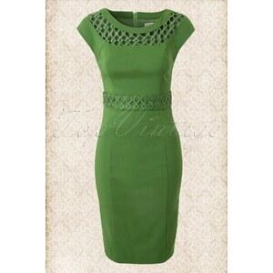 Fever 50s Roma Lattice Neckline Pencil Dress Green