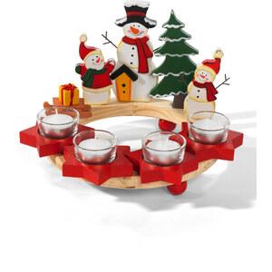 bpc living Holzkranz Teelichthalter Schneemann in rot von bonprix