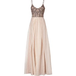 Collette Dinnigan Embellished Silk Organza Shoestring Gown in Blush