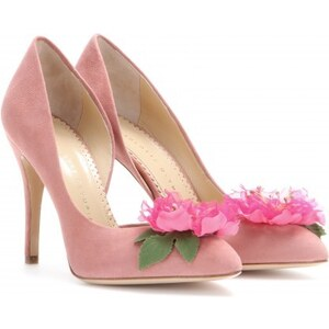 Charlotte Olympia Vamp In Bloom Embellished Suede Pumps