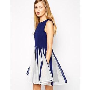 ASOS - Ausgestelltes Mini-Abendkleid mit Netzeinsätz - Marineblau