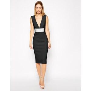 ASOS - Kleid mit supertiefem Ausschnitt und Strassgürtel - Schwarz 47,99 €
