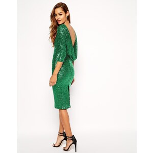 ASOS - Knielanges Paillettenkleid mit Wasserfallausschnitt am Rücken - Grün 36,99 €
