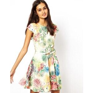 Club L Tropical Print Skater Dress with Belt
