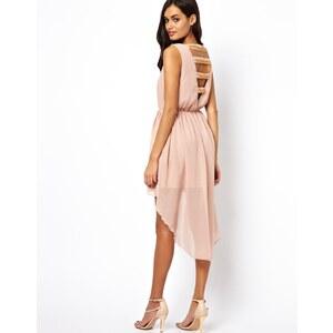 Rare – Kleid mit nach hinten abfallendem Saum und Rückenausschnitt mit Kettenriemen
