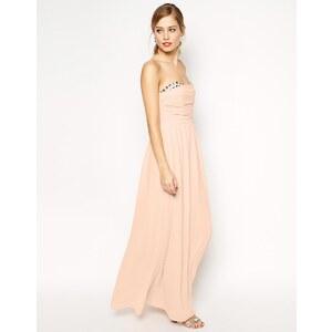 ASOS - Peekaboo - Langes Kleid mit Schmucksteinen - Blush