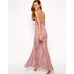 ASOS - Fishtail-Maxi-Kleid aus Spitze - Malve