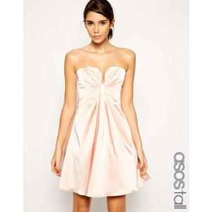 ASOS TALL - Mini robe coupe bandeau avec découpe plongeante et effet torsadé - Crème
