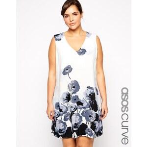 ASOS CURVE - Exklusives Swingkleid mit blumenverziertem Saum