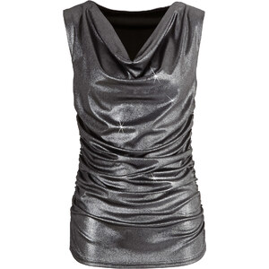 BODYFLIRT Shirttop ohne Ärmel in schwarz (Wasserfall-Ausschnitt) für Damen von bonprix