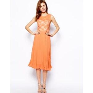 Warehouse - Kleid mit Netzoberteil und Faltenrock - Korallenrot