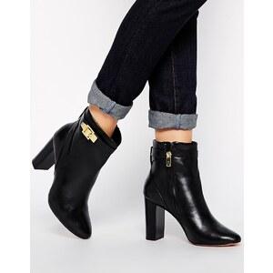 Ted Baker - Micka - Ankle Boots mit Absatz aus schwarzem Leder - Schwarzes Leder
