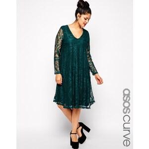 ASOS CURVE - Exklusives Kleid mit Spitze, tiefem V-Ausschnitt und längeren Ärmeln - Dunkelgrün