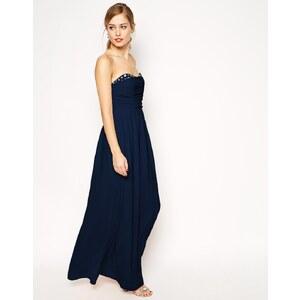 ASOS - Peekaboo - Langes Kleid mit Schmucksteinen - Marineblau