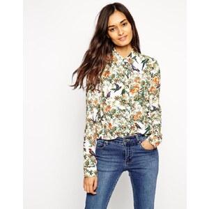 ASOS - Langarm-Bluse mit Vogelmuster - Mehrfarbig