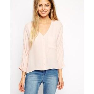 ASOS - Langärmlige Bluse mit V-Ausschnitt - Blush