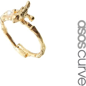 ASOS CURVE Bird & Faux Pearl Ring