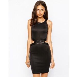 AX Paris - Figurbetontes Kleid mit PU-Verzierung und Cutout - Schwarz
