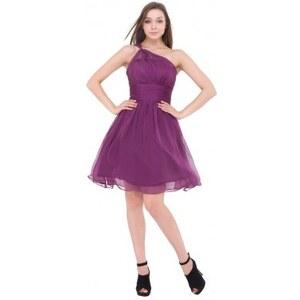 krátké fialové společenské šaty na jedno rameno Petrona S-M - Glami.cz 53c874f268