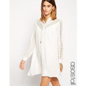 ASOS TALL - Swing-Kleid mit Spitzen - Weiß