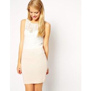 ASOS - Kleid mit Spitzenoberteil und Strickrock - Rosa