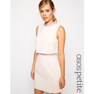 ASOS PETITE - Kleid mit verziertem Stehkragen - Nude 20,99 €