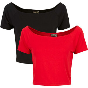 RAINBOW Shirt 2er-Set kurzer Arm in rot für Damen von bonprix