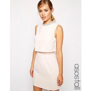 ASOS TALL - Kleid mit verziertem Stehkragen - Rosa