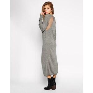 ASOS - Midi-Pulloverkleid mit Rückenausschnitt - Grau
