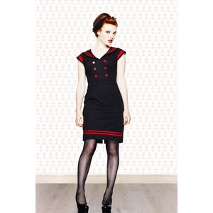 Bunny 50s Horizon Nautical pencil dress in Red Black