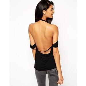 ASOS - Schulterfreies T-Shirt mit Rückenausschnitt - Schwarz