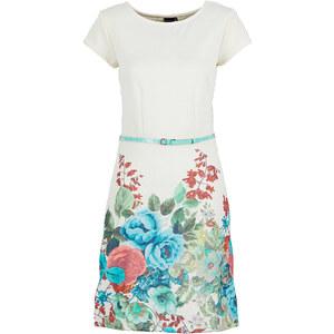 BODYFLIRT Shirtkleid mit Gürtel/Sommerkleid kurzer Arm in weiß von bonprix