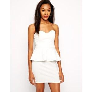 Daisy Street - Trägerloses Kleid mit Schößchen - Weiß