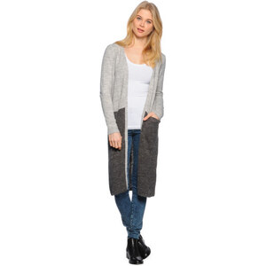 Vila Riva Blocked Strickjacke light grey mela dark grey