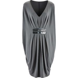 bpc selection premium Premium Shirtkleid mit Stickerei/Sommerkleid kurzer Arm in grau von bonprix
