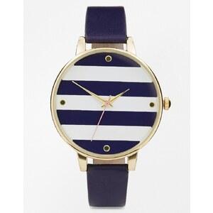 ASOS - Uhr mit großem gestreiftem Zifferblatt - Marineblau