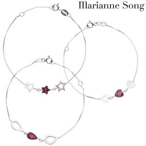 Lesara Marianne Song Amethyst-Edelstein-Armbänder mit 925er Silber - Herz