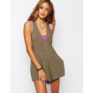 One Teaspoon - Rosewood - Kurzer Overall mit Racerback - Khaki