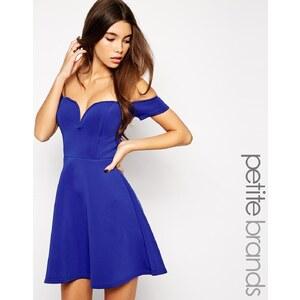 True Decadence Petite - Skaterkleid mit Bardot-Ausschnitt - Blau